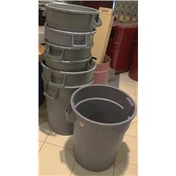 7 GREY ASSORTED SIZE RUBBERMAID GARBAGE BINS