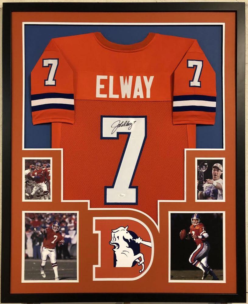 best service 9e23b 471e6 John Elway Signed Denver Broncos 35x43 Custom Framed ...