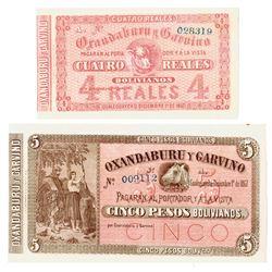 Banco Oxandaburu Y Garvino, 1857 Banknote Pair.