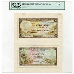 Banque Central du Congo Belge et du Ruanda-Urundi. ND (ca. 1950s). Artist's Essay Face & Back Proof.