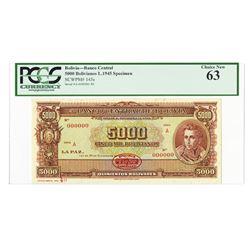 Banco Central de Bolivia, L.1945 Specimen Banknote.