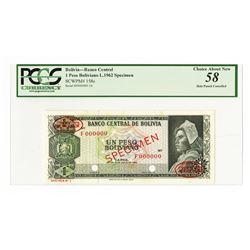 Banco Central de Bolivia, L.1962 Specimen Banknote.