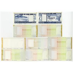 Banco de Cabo Verde. 1977. Group of Ten Progressive Proof Notes.