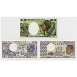Various African Issuers. 1980s. Trio of Issued Notes.