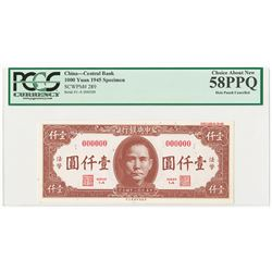 "Central Bank of China, 1945 Specimen ""Color Trial "" Banknote."
