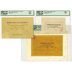 Banque Industrielle de Chine, 1916, $50 Proof and Mockup Design Model Trio.