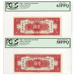Yunnan Provincial Bank, 1949 Banknote Pair.
