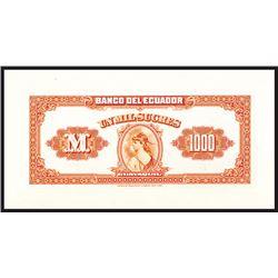 Banco Del Ecuador, ND 1926 Back Proof Banknote.