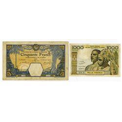 Banque de l'Afrique Occidentale & Banque Centrale des Etats l'Afrique de l'Ouest. 1929-1960s. Pair o