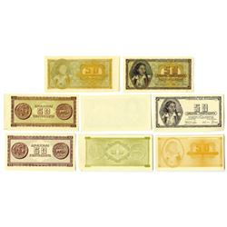 Bank of Greece 1943 Inflation Issue Progress Proof Assortment of 8 Different.