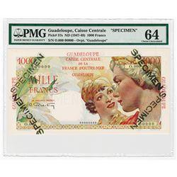 Guadeloupe Caisse Centrale De La France D'Outre-Mer, ND (1947-49) Specimen Banknote.