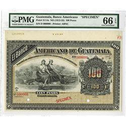 Banco Americano De Guatemala, ND (1913-25) Specimen Banknote.