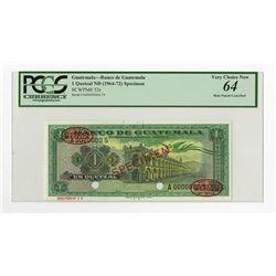Banco De Guatemala ND (1964-72) Specimen Banknote.
