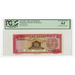 Banco De Guatemala ND (1965-70) Specimen Banknote.