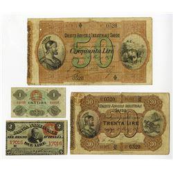 Credito Agricolo Industriale Sardo & Banca Nazionale nel Regno d'Italia. 1870s. Quartet of Issued No