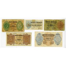 Federal Biglietti Consorziale. 1874. Quintet of Issued Notes.