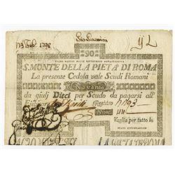 S. Monte della Pieta' di Roma. 1798. Issued Note.