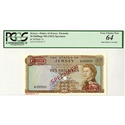 States of Jersey, ND (1963) Specimen Banknote.