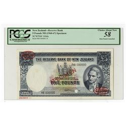 Reserve Bank of New Zealand, ND (1960-67) Specimen Banknote.