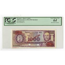Banco Central Del Paraguay, L.1952 (ca.1963) Specimen Banknote.