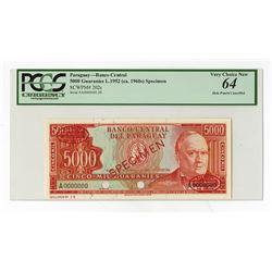 Banco Central Del Paraguay, L.1952 (ca.1960's) Specimen Banknote.