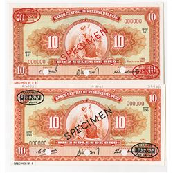 Banco Central De Reserva Del Peru, 1960 & 1961 Specimen Banknote Pair.