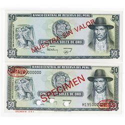 Banco Central De Reserva Del Peru, 1977 Specimen Banknote Pair.