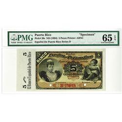 Banco Espanol De Puerto Rico, ND (1894) Specimen Banknote Rarity.