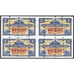 Union Bank of Scotland, Ltd, Archival Specimen, 1948 Issue Uncut Sheet of 4.