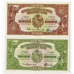 Government of Tonga. 1960-1966. Pair of Issued Notes.