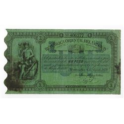 Republica Oriental del Uruguay. 1870. Issued Note.