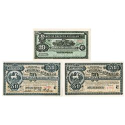 Banco De Credito Auxiliar, Montevideo, L.1887 Banknote Trio.