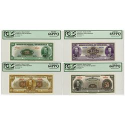 Banco Central De Venezuela, Caracas, 1940-62 Specimen Banknote Quartet.