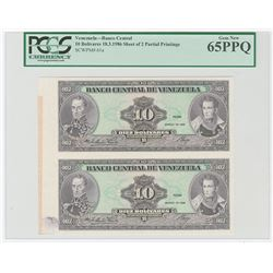 Banco Central De Venezuela, 1986 Uncut Uniface Proof Sheet of 2 Notes.