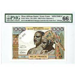 Banque Central Des Etats De L'Afrique De L'Ouest, Ivory Coast, ND (1961) Specimen Banknote.