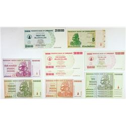 Reserve Bank of Zimbabwe. 2008-2009. Group of 13 Replacement Notes.