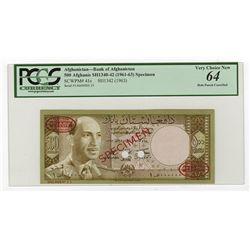 Bank of Afghanistan, SH1342 (1963) Specimen Banknote.