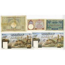 Banque d'Etat du Maroc & Banque Central d'Algerie. 1920s-1960s. Quintet of Issued Banknotes.