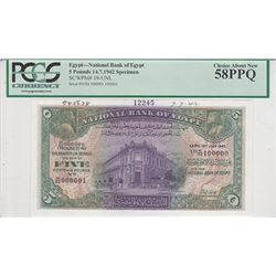National Bank of Egypt. 1942. Specimen Banknote.