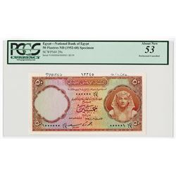 National Bank of Egypt, 1955 Specimen banknote.