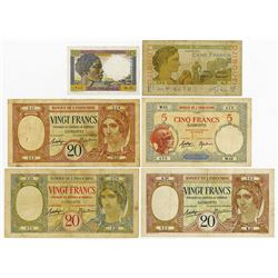 Banque de L'Indo-Chine. 1920's-1940's. Lot of 6 Issued Banknotes.