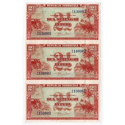 Republik Indonesia, 1951 Specimen/Proof Uncut Strip of 3 Notes.