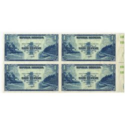 Republik Indonesia, 1953 Specimen/Proof Uncut Block of 4 Notes.