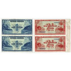 Republik Indonesia, 1951 & 1953 Specimen/Proof Uncut Pairs of 1 and 2 1/2 Rupiah Notes.