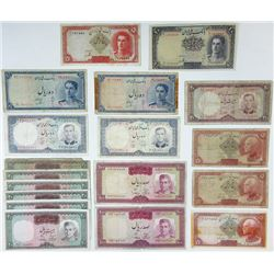 Bank Melli Iran & Central Bank of Iran. 1930's-1960's. Group of 23 Issued Banknotes.