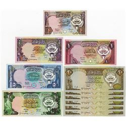 Central Bank of Kuwait. Group of 11 Issued Banknotes.