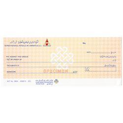 Kuwait National Petroleum Co. Circa 1970's. Specimen Check.