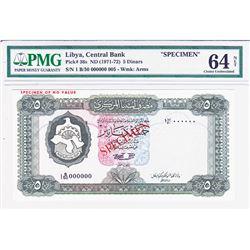 Central Bank of Libya. ND (1971-1972). Specimen Banknote.