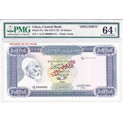 Central Bank of Libya. ND (1971-1972). Specimen Banknote.