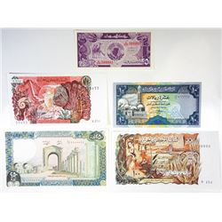 Assorted Middle Eastern Issuers. 1970s-1980s. Quintet of Issued Radar Notes.